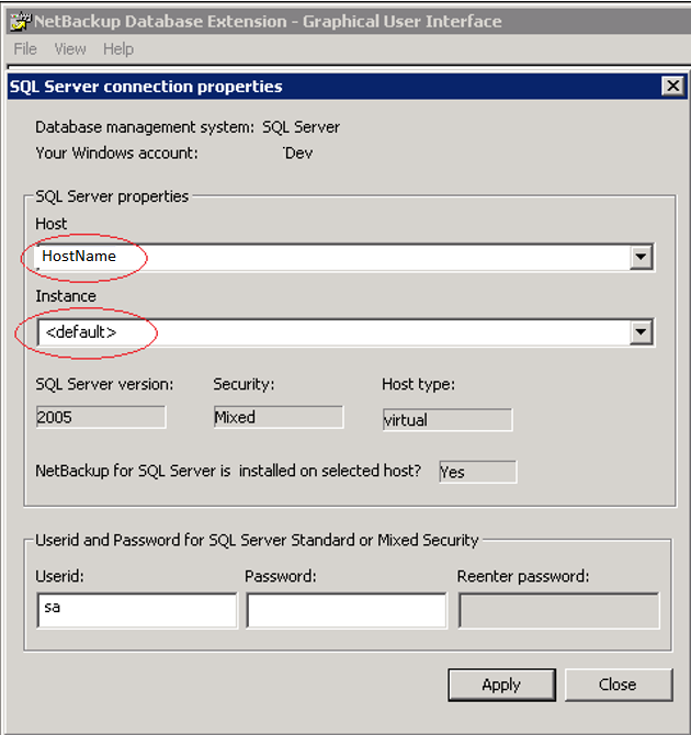 Image showing connection properties for default instance