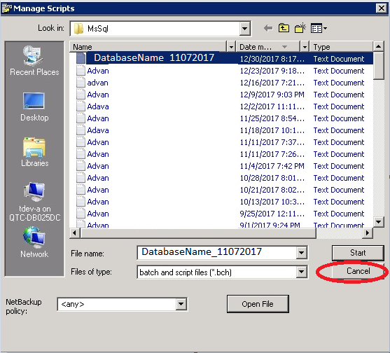 NetBackup Restore tool bug