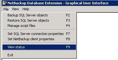 NetBackup Restore view status