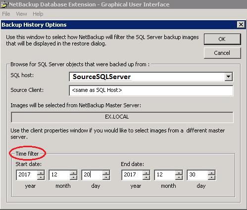 Image showing NetBackup history