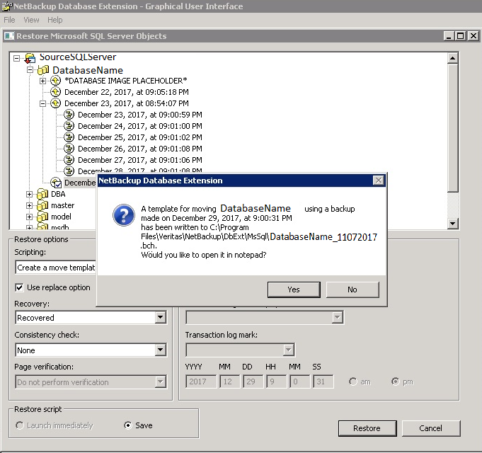 NetBackup restore showing pop up message