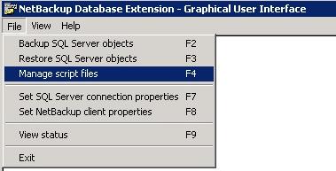 NetBackup Restore showing Mange Script Files option
