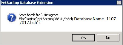 NetBackup Restore confirmation message