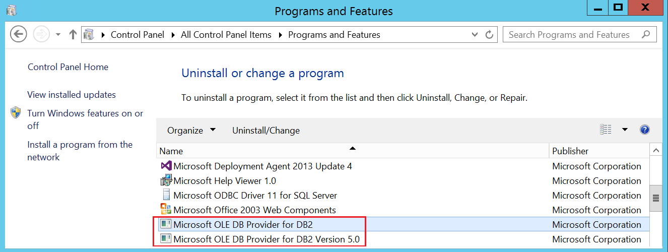 Uninstall OLE DB provider for DB2