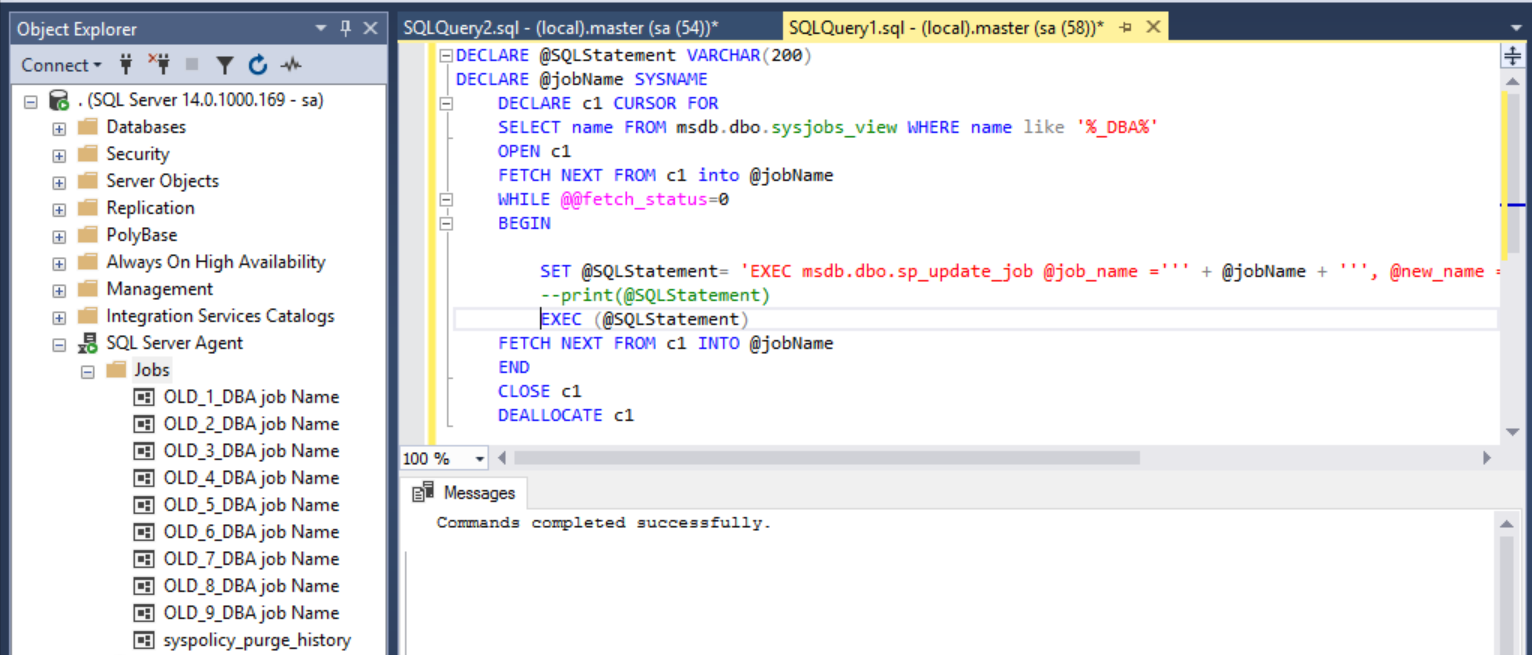 Query to rename SQL Agent jobs