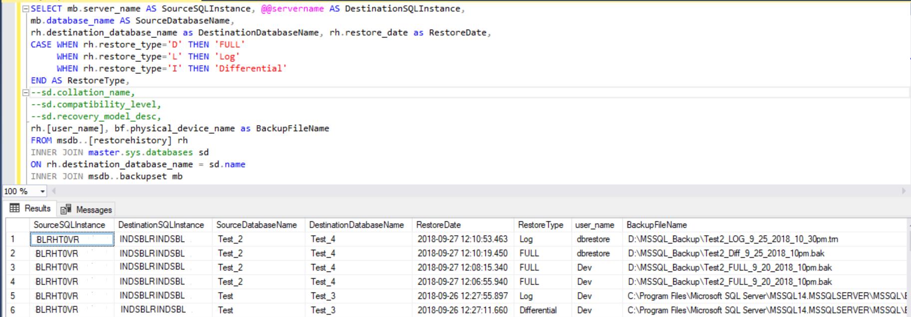 Script to provide database restore report