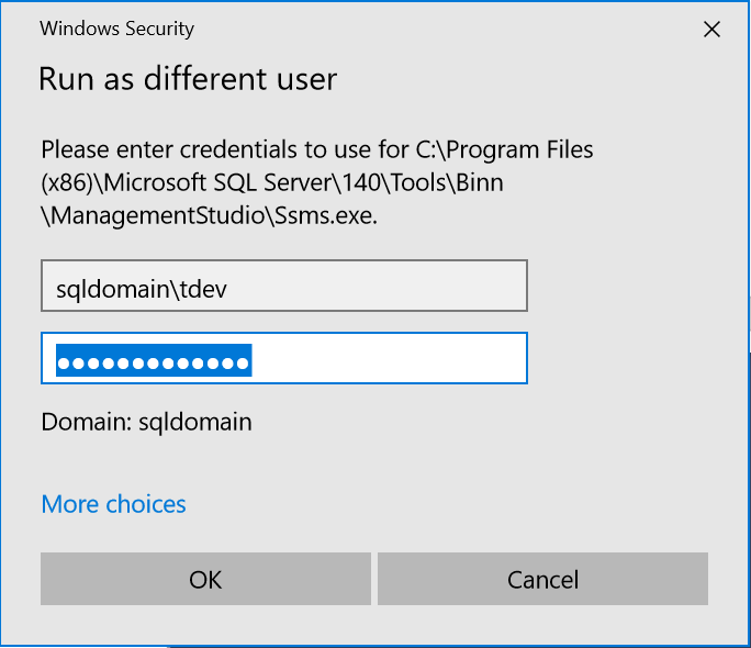 Use Windows Authentication With a Different User in SSMS